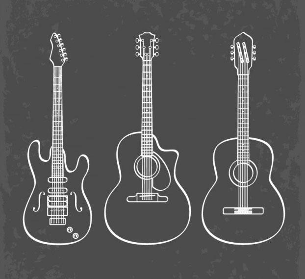gestión de derechos de autor Ilustración de guitarras